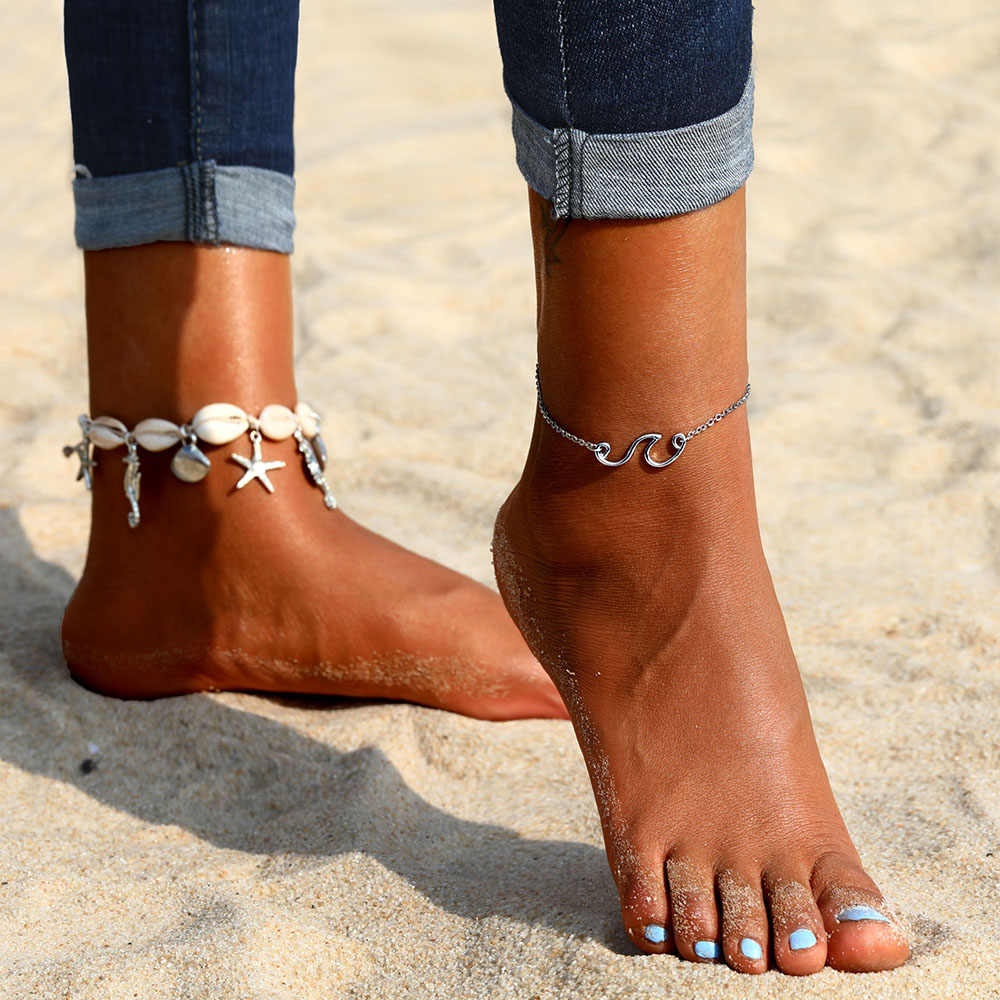 Vienkim 2018 新アンクレット女性のファッション幾何波波状ビーチ靴ジュエリーレディースアクセサリー