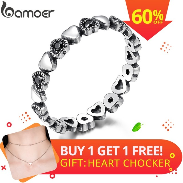 BAMOER Genuine 925 Sterling Silver Stackable Ring Heart Black CZ Finger Rings fo