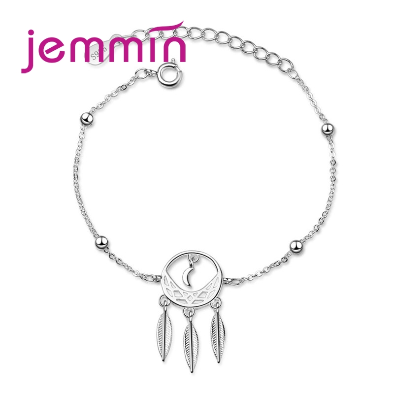 925 Sterling Silver Beaded Charm Bracelet For Women Girls Party Birthday Fine Jewelry Trendy Style Feather Pattern Wholesale