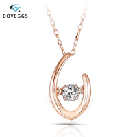 DovEggs 10k Rose Gold Dancing Setting 0.1ct Real Diamond Pendant Necklaces For Women Rose Gold Link Chain Anniversary Gift