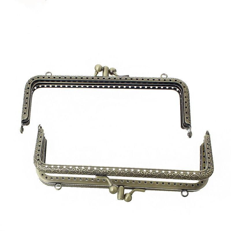 5Pcs Vintage Handbag Coins Purse Rectangle Frame Kiss Clasps Double Layers Clutch Bronze Tone Handle 15.4x6.8cm