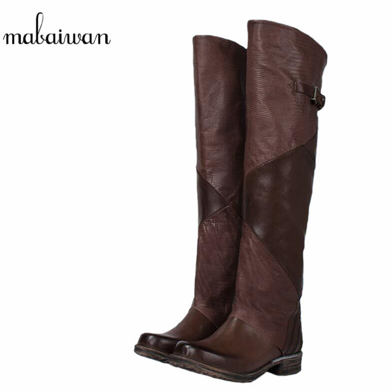 Mabaiwan Fashion New Military Cowboy Boots Knee High Women Shoes Genuine Leather Motorcycle Boots Retro Buckle Shoes Woman Flats mabaiwan handmade rivets military cowboy boots mid calf genuine leather women motorcycle boots vintage buckle straps shoes woman