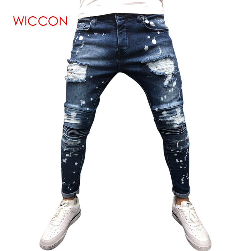 2019 New Fashion   Jeans   Men Casual Trousers Casual Fitted Bottoms Zipper Streetwear Hip Hop Straight Male Personality Denim Pants