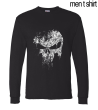 hip hop style cool men t shirt Anime Supper Hero The Punisher Skull 2016 autumn cotton men long sleeve T-shirts Camisetas Hombre