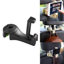 Автомобильный крючок на подголовник с держателем для телефона, вешалка для спинки сиденья для сумки, сумочки, сумочки, ткани для продуктов, портативные многофункциональные зажимы, Органайзер