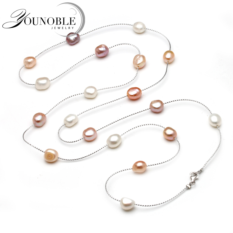 Genuine Freshwater Multi Layer Long Pearl Necklace Woman,wedding Trendy Natural Pearl Necklace Girls Jewelry White Anniversary