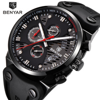 BENYAR 2018 New Skeleton Calendar Men's Watches Chronograph Real Three Dial Waterproof 30M Outdoor Hollow Sports Watch