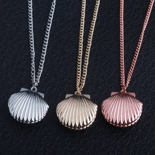 3 Colour fashion jewelry movie seashell Clam Beach Mermaid Photo Locket Chain charm Necklace(China)