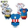2016 Roupas Bebê Recém-nascido Menino Ropa Bebe Algodão de Manga Curta Macacão de Bebê Superman Traje Do Bebê Do Aniversário De Batman Roupas Do Corpo Do Bebê