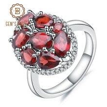 Gems Ballet Anillo de cóctel de Plata de Ley 925, anillos de compromiso de GEMA de granate roja Natural para mujer, joyería fina