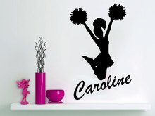 Removable Personalized Girl Name Cheerleader Sticker Dance Custom name Kidsa baby Art Home Decor DIY Wall Decal NY-343