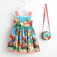 Girls Dress Summer 2017 Brand Toddler Dress With Bag Baby Girls Clothes Robe Enfant Princess Kids