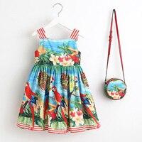 Girls Dress Summer 2017 Brand Toddler Dress With Bag Baby Girls Clothes Robe Enfant Princess Kids