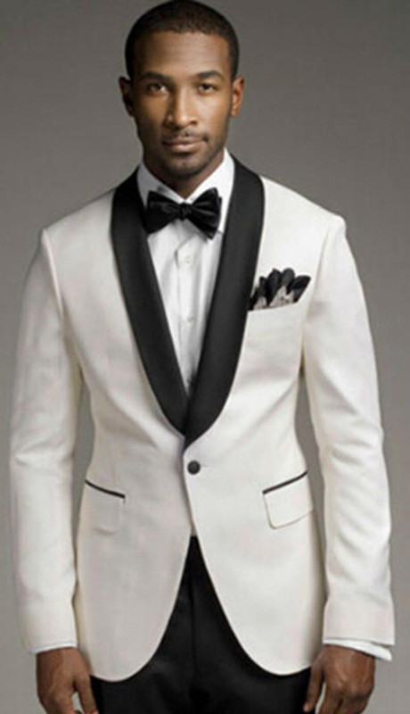 2017 Modern Men Suits Ivory Shawl Lapel Wedding Tuxedo Groomsmen Custom Business Jacket Pants Tie In From S Clothing Accessories On