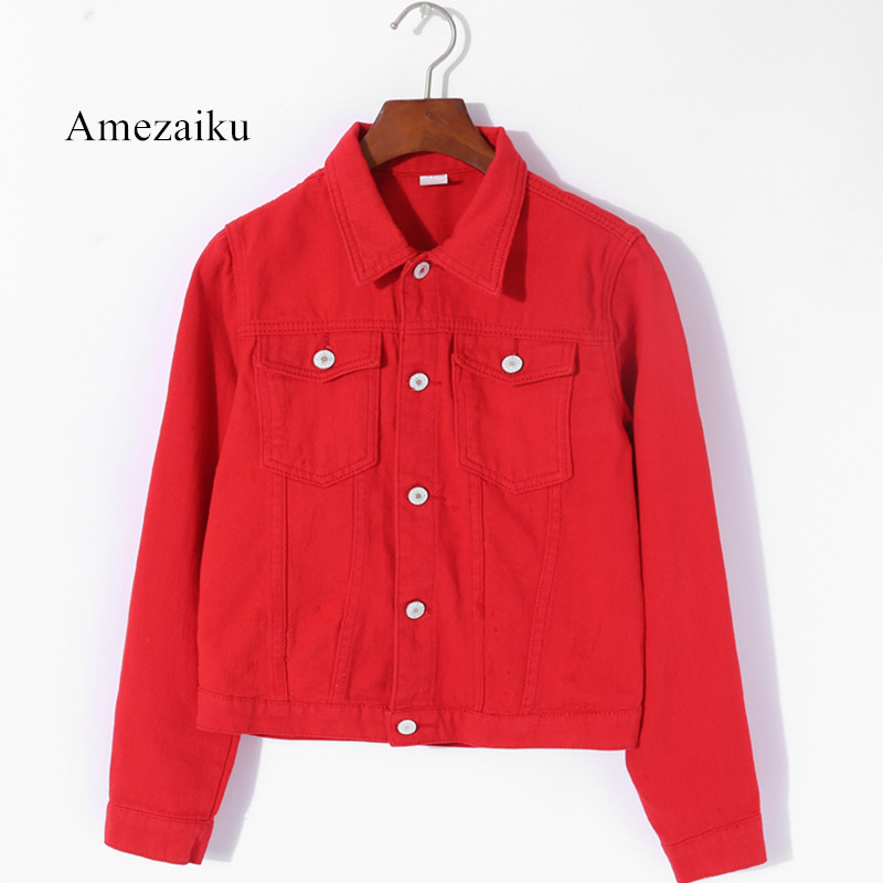 Women   Basic   Coats summer Autumn Women Denim   Jacket   red pink black denim   jacket   Female Jeans Coat Casual Girls Outwear laides