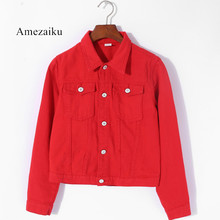 Women Basic Coats summer Autumn Women Denim Jacket red pink