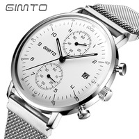 GIMTO Brand Men Sport Watch Black Steel Quartz Military Shock Male Watches Luminous Fashion Casual Calendar