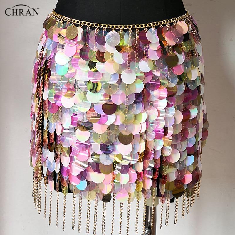 Chran Sequins Seascale Mini Skirt Disco Party Chain Necklace Belly Waist Chain Belt Festival Costume Dress Wear Jewelry CRS215 недорого