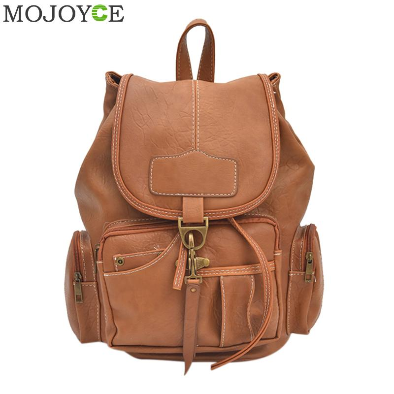 Autumn Vintage Backpack Women PU Leather Casual Backpacks Travel School Bag For Teenage Girls Fashion Ladies