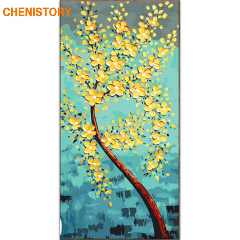 CHENISTORY Frame Abstract Yellow Flowers DIY Painting By ...
