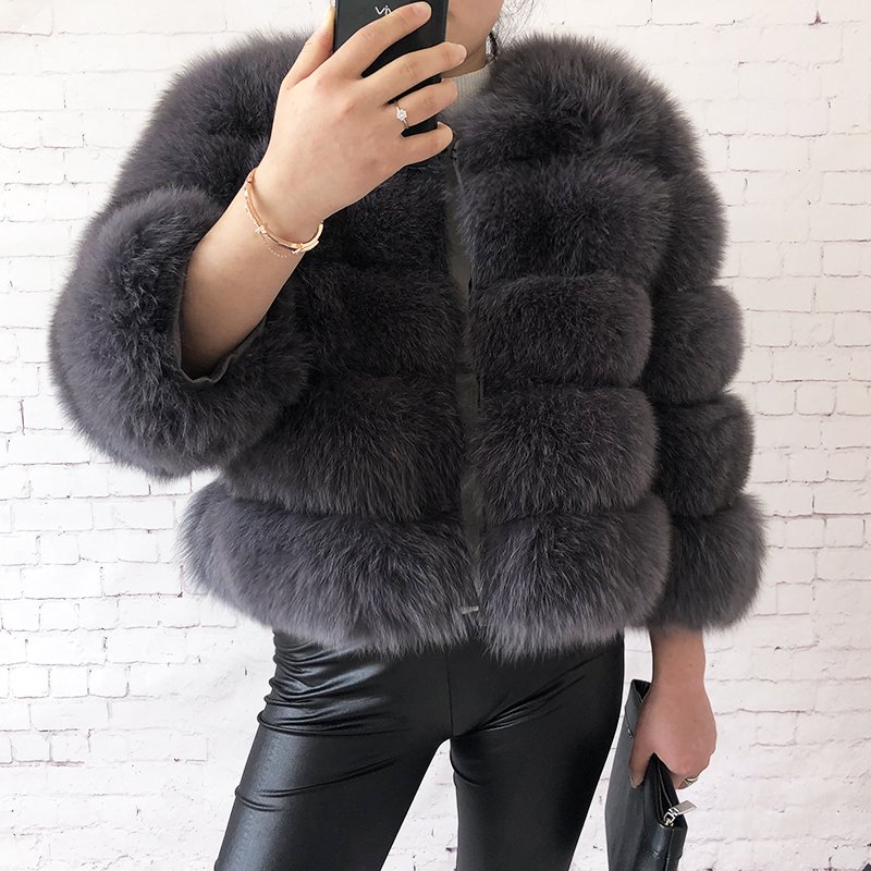 2019 new style real fur coat 100% natural fur jacket female winter warm leather fox fur coat high quality fur vest Free shipping 26