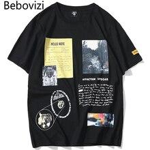 Bebovizi Hipster T Shirt Hip Hop Men Printed Tee Shirts 2019 Harajuku Short Sleeve Fashion High Street Couple Streetwear