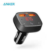 Anker Roav SmartCharge F0 Car Charger with FM Transmitter Bluetooth Receiver Bluetooth 4.2, 2 USB Ports, PowerIQ AUX Output(China)