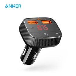 Anker roav smartcharge f0 carregador de carro com receptor bluetooth transmissor fm 4.2, 2 portas usb, saída aux poweriq