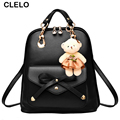 CLELO 2017 new bag for female women backpack pu Preppy Style For Teenage Girls High capacity Travel Backpack with Little bear