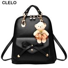 Clelo Новинка 2017 сумка для женщин рюкзак из искусственной кожи элегантный дизайн для девочек-подростков большой емкости путешествия рюкзак с Медвежонок