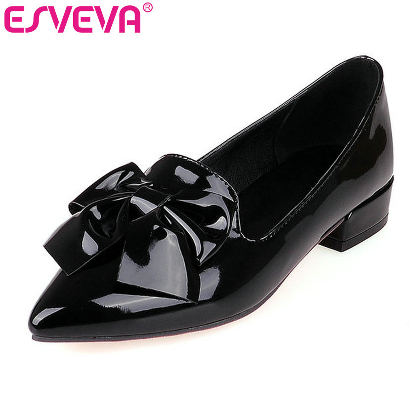 ESVEVA Bow Tie Pu Patent Leather Pointed Toe Women Pumps Slip On Square Heels Autumn/Spring Miss Party Shoes Size 34-43 Black цена