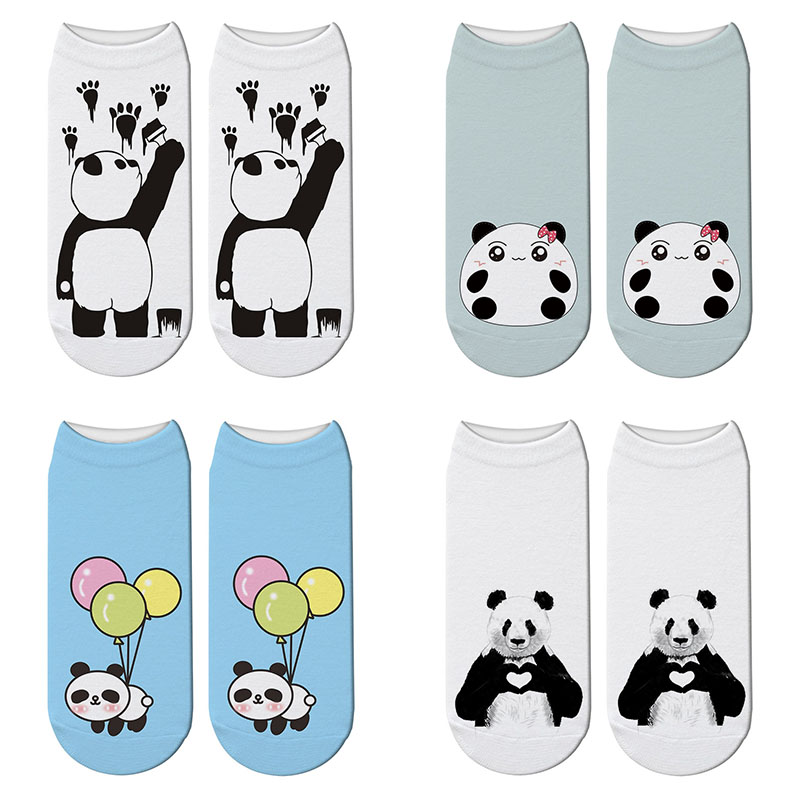 New 3D Printed Panda Cartoon Socks Woomen Character Giant Panda Pattern Unisex Ankle Socks Funny Japanese Kawaii Short Socks
