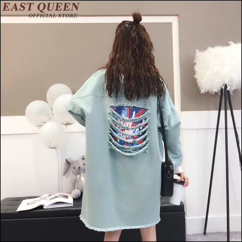 feminine blouse Outerwear & Coats modern design long ripped destroyed teenager clothes streetwear punk harajuku blouse AA3483 a