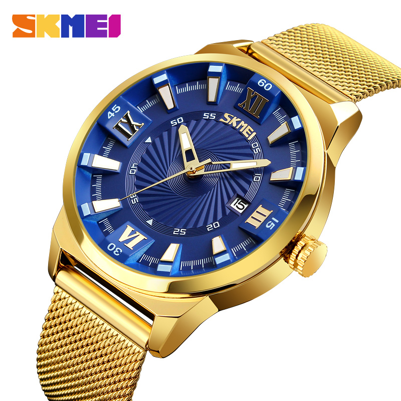 SKMEI Fashion Quartz Watches Men Luxury Business Gold Watch Stainless Steel Waterproof Wristwatches Male Clock Relogio Masculino