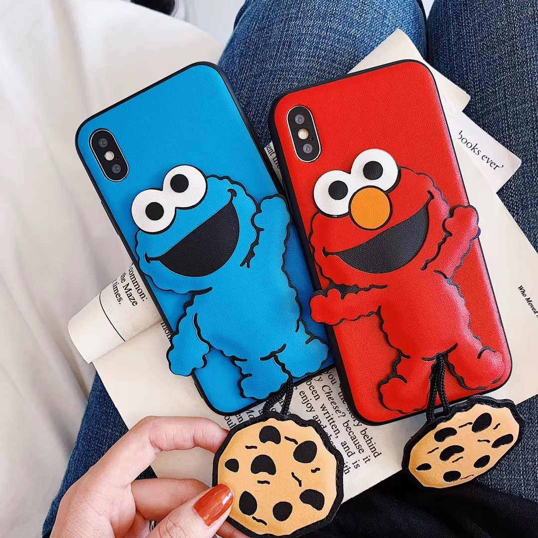 cute cartoon sesame street case for iphone 11 pro X XS MAX XR 7 8 6 6s plus 3D leather cookie elmo lovely soft phone cover coque