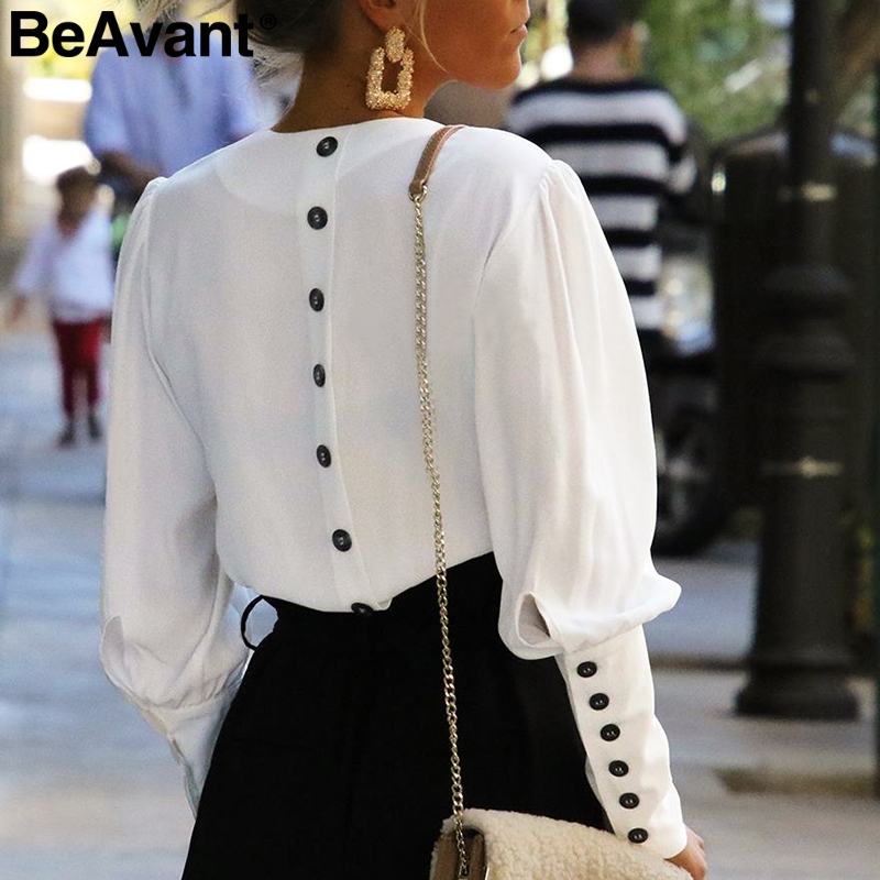 BeAvant Vintage V Neck White Blouse Shirt Women Ladies Office Summer Shirt Top Female Button Elegant Long Sleeve Blouse Blusas
