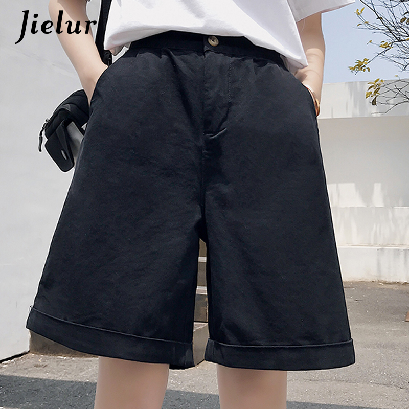 Jielur Summer Sports Shorts Women Korean High Waist Wide Leg Khaki Black Shorts Fashion Loose Pockets Cool Short Feminino M-XXL
