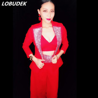 (Куртка + бюстгальтер + Штаны) белый черный розовый красный пикантные женские костюм выпускного вечера вечерние ночной клуб бар женский кост