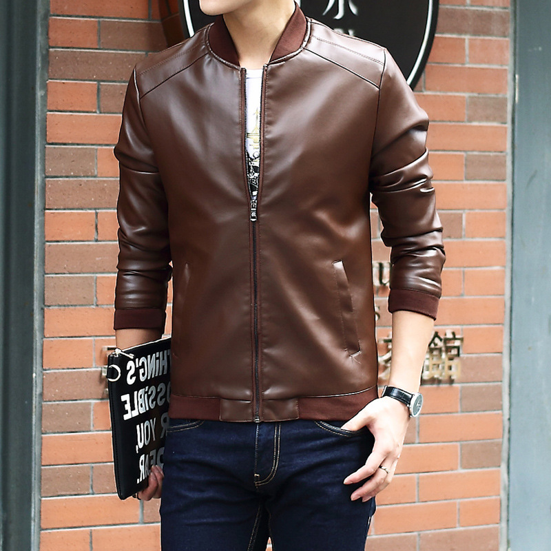 New Autumn Jacket Men PU Leather Jacket Coat Male Casual Jacket Fashion Casual Baseball Collar Men Motorcycle Leather Tidal Flow in Jackets from Men 39 s Clothing