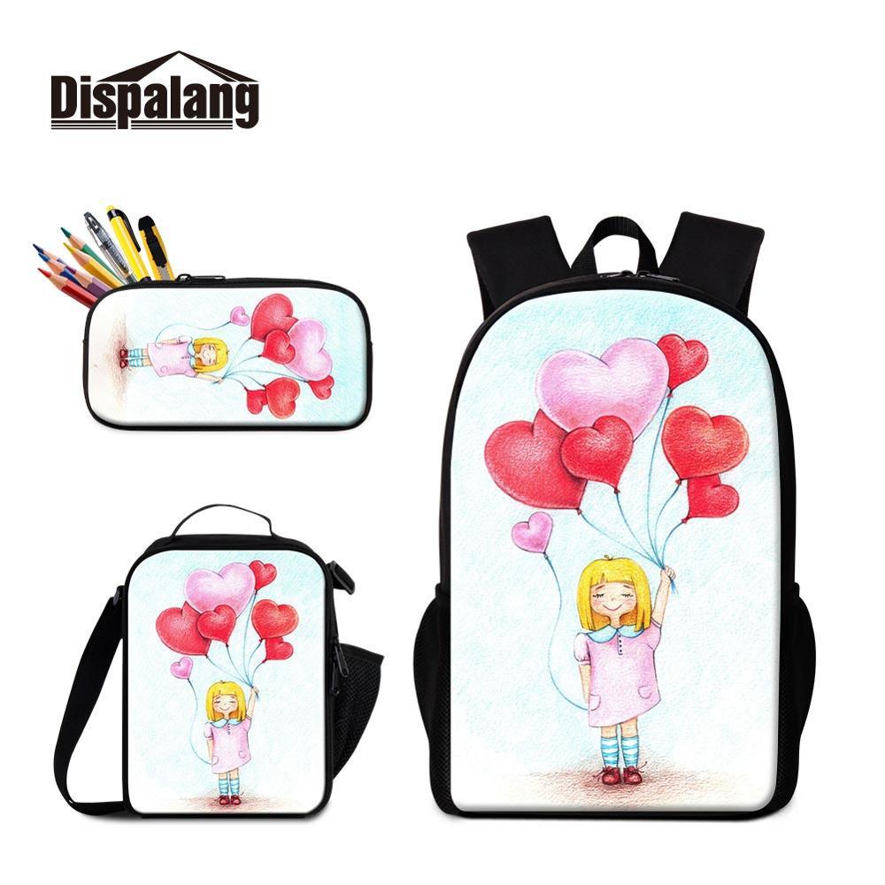 Organisateur de sac à dos de marque scolaire 3 pièces en 1 ensemble cartable avec pochette à Lunch et boîte à crayons sacs fournitures pour enfants