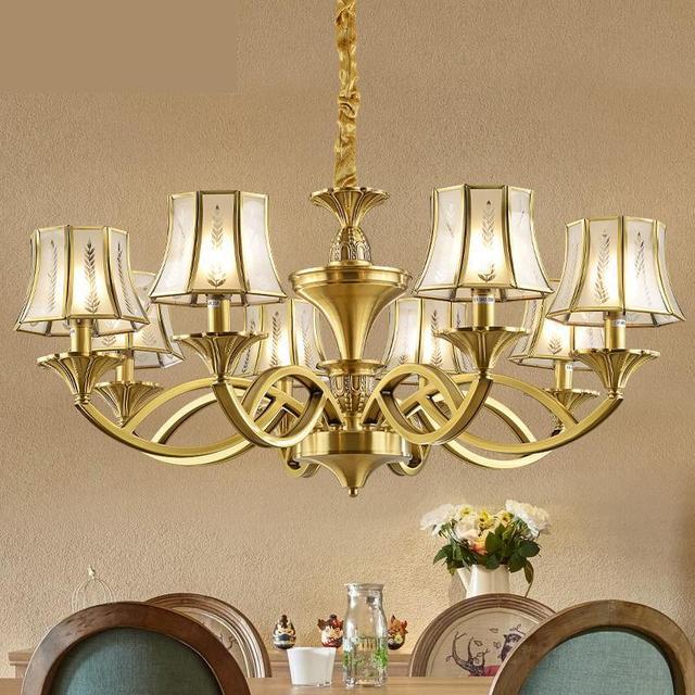 Retro Villa Copper Chandelier Antique Led Lamps Italy Vintage Chandeliers Hotel Living Room Hanging