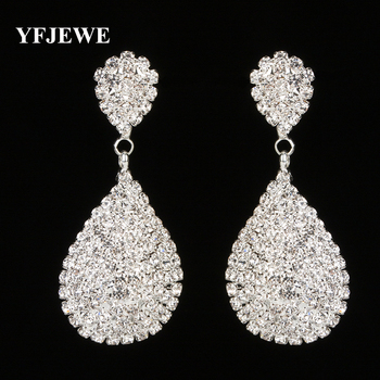 YFJEWE New Style Gold and Silver Drop Dangle Earrings with Full Crystal Luxury Bridal Wedding Jewelry Earring Wholesale E275