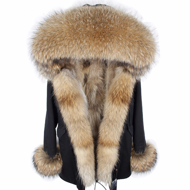 2018 nuovo parka delle donne fodera in pelliccia di coniglio con cappuccio lungo cappotto parka outwear verde dell'esercito Grande collo di pelliccia di procione inverno giacca