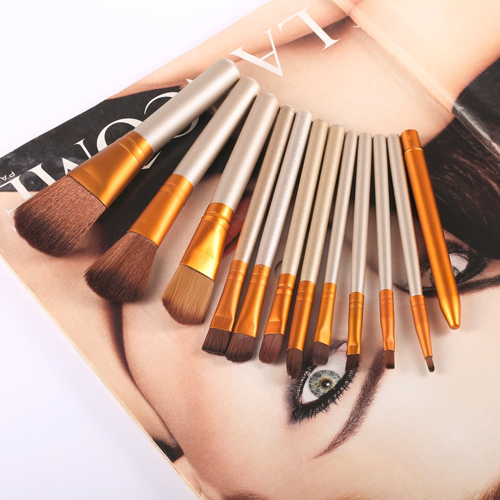 12 Pcs/set Professional Makeup Brushes Set Cosmetic Eyeshadow Foundation Concealer Brushes Face Brush Make up Tools Accessories professional bullet style cosmetic make up foundation soft brush golden white