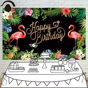 Image 1 - Allenjoy photographie toile de fond flamant tropical forêt tropicale anniversaire personnalisé tableau noir imprimante photo design original