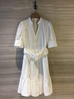 New women white dress half sleeve sexy v neck with sashes female dresses spring summer 0307