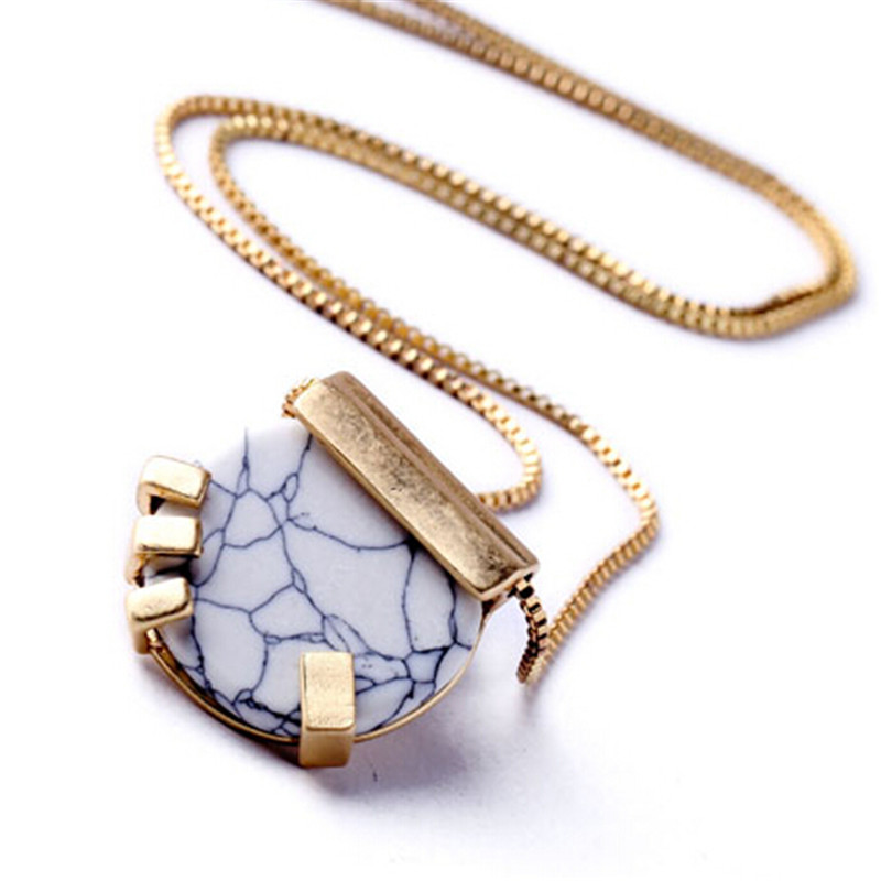 Classy Art New Trendy Design Jewelry OL White Crack Resin Stones Long Necklace For Woman Christmas Gift