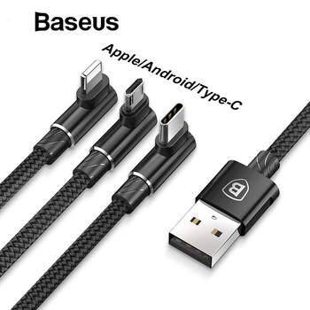 Baseus 3 in 1 Micro USB Type C Cable for One Plus 5t 5 USB-C Type-C Cable for Samsung Galaxy S9 S8 Plus Charger Cable for iPhone