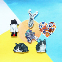 1 PC Cartoon Animals Acrylic Badges Icons on The Pin Kawaii Brooch Female Badges for Clothing Backpack Badge