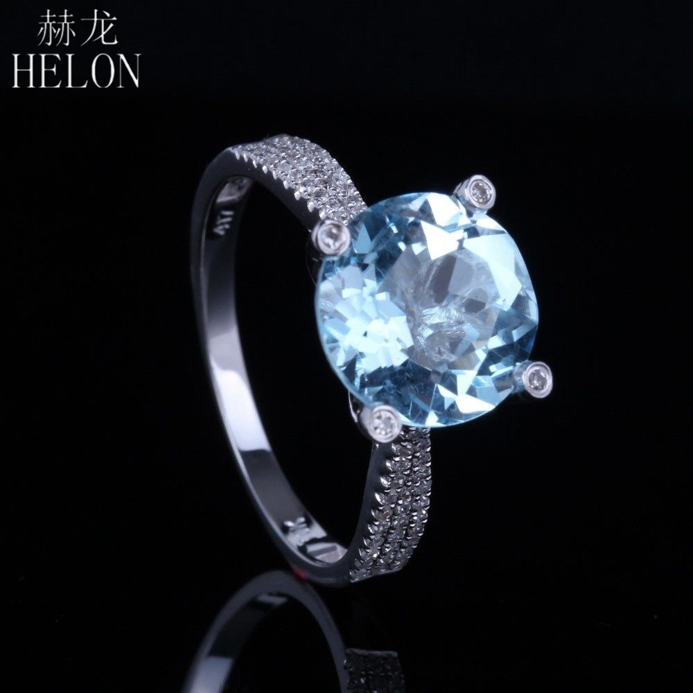 HELON Solid 10kt White Gold 10mm Round 3.5ct Brilliant Blue Topaz Engagment Ring Pave Natural Diamond Wedding Elegance Fine Ring
